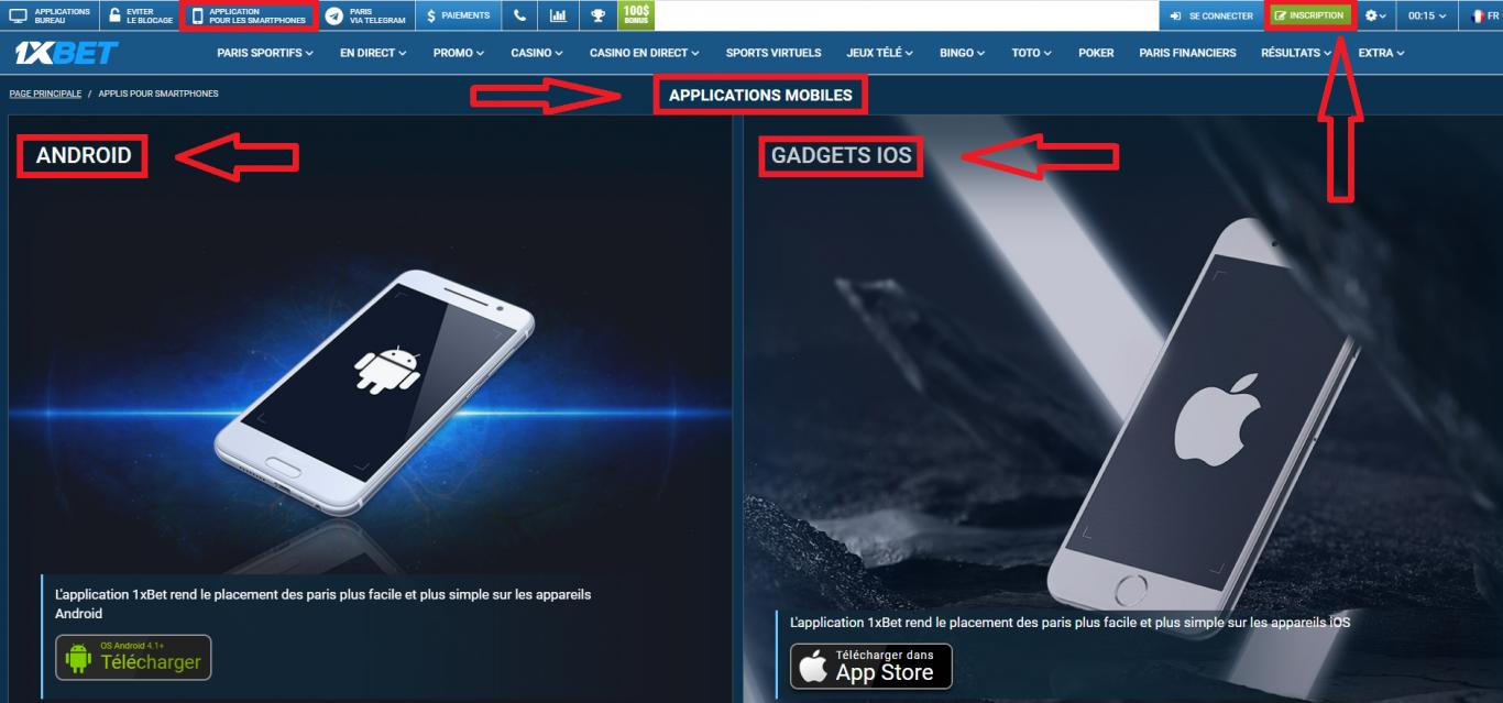Design et fonctionnalité pour l'application 1xBet iOS